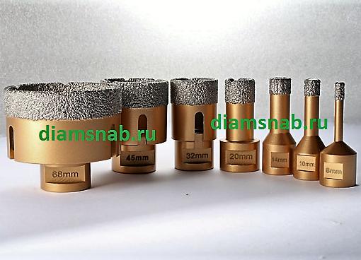 Универсальные алмазные коронки для УШМ болгарки для сухого сверления по керамограниту, камню, мрамору, плитке, бетону, металлу, композиту, стеклу, каф