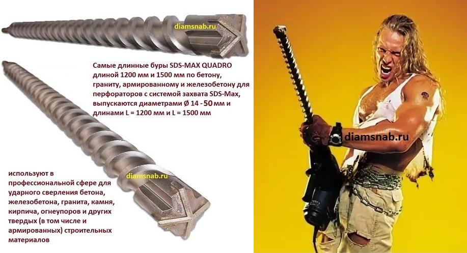 Купить бур для перфоратора по бетону длинные купить бетон новосиб
